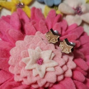 NEW Minimal Stud Earrings Wood Fox Wooden Jewelry
